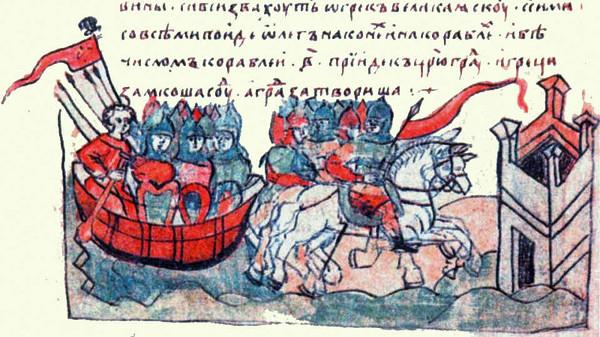 Дружина Вещего Олега, штурмующая Константинополь под красными знамёнами.