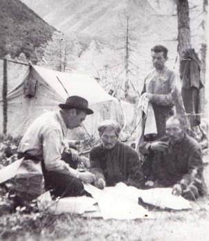 Слева направо: Г.А. Федосеев, Улукиткан, Лиханов, В.Н. Мищенко.